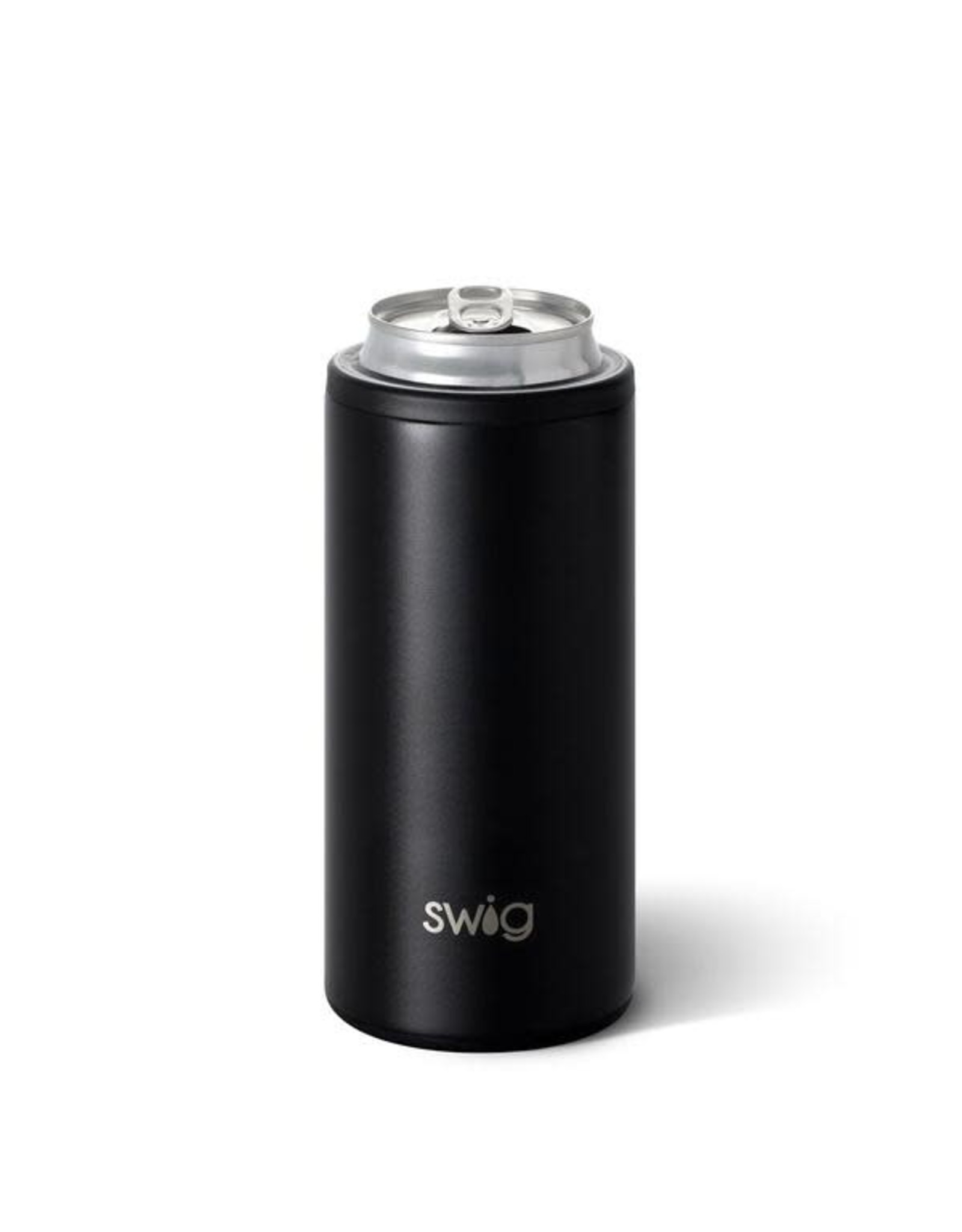 Matte Black Skinny Can Coozie