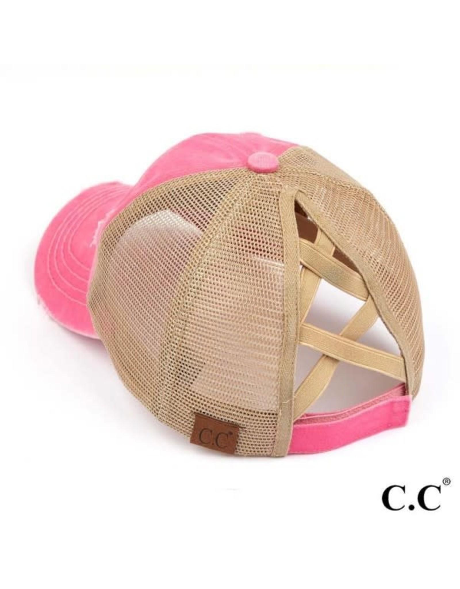 Distressed Pink & Tan Hat