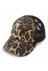 Leopard Distressed Ponytail Hat