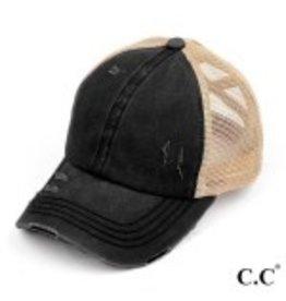Black Ponytail Hat w/tan mesh back