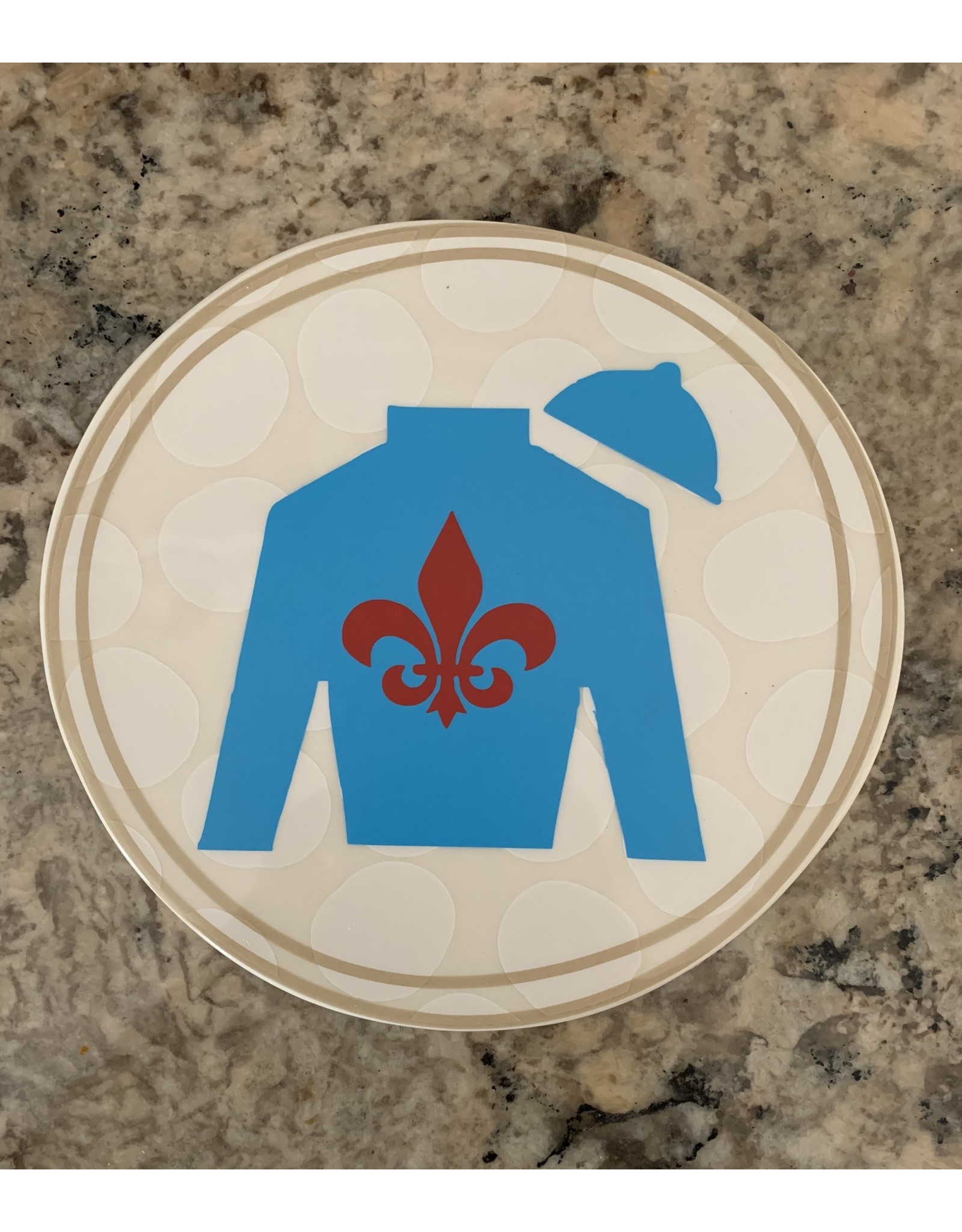 Lg. Ceramic Attachment with Blue Silk