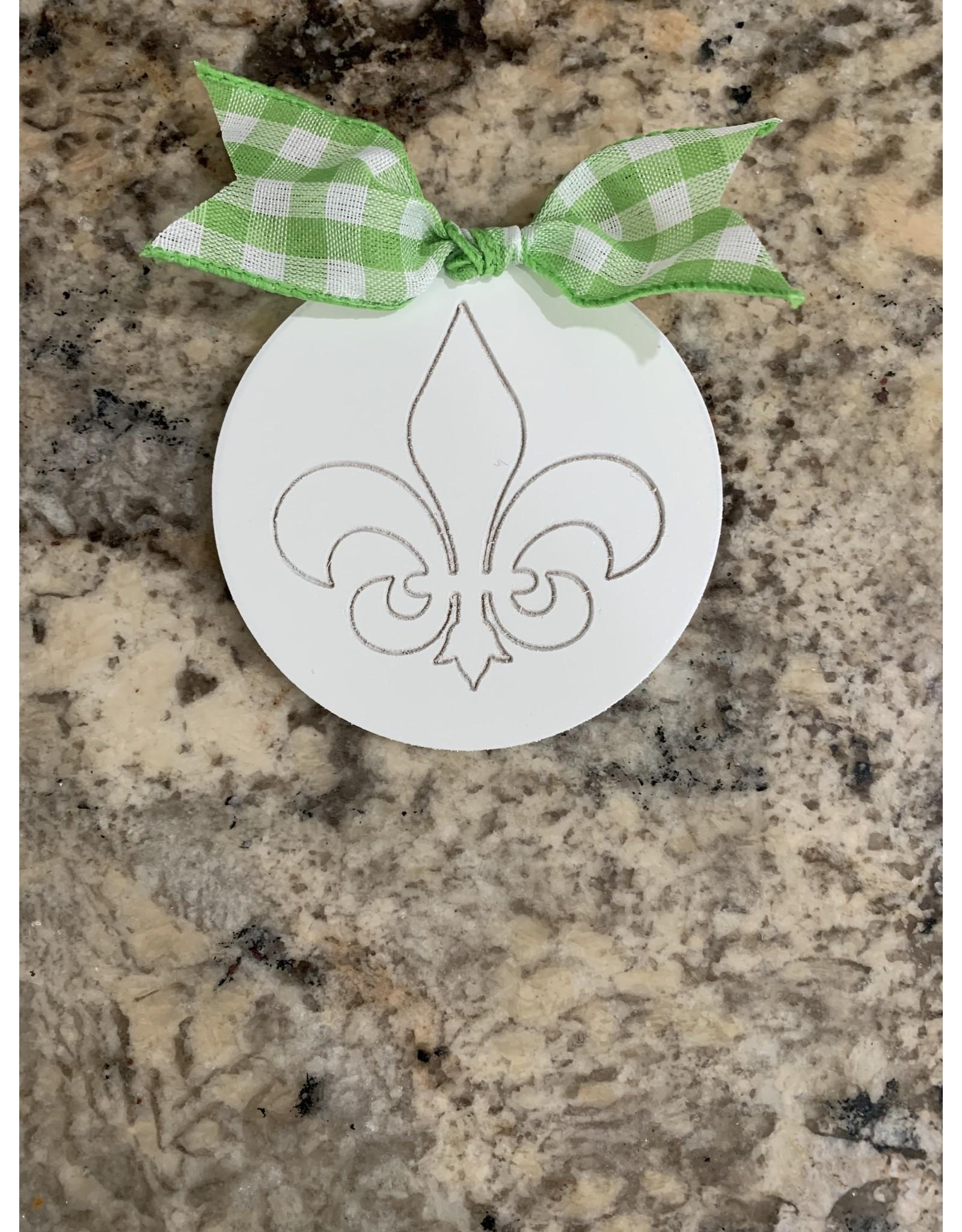 Mini Wooden Attachment Fluer de Lis w/velcro (green bow)