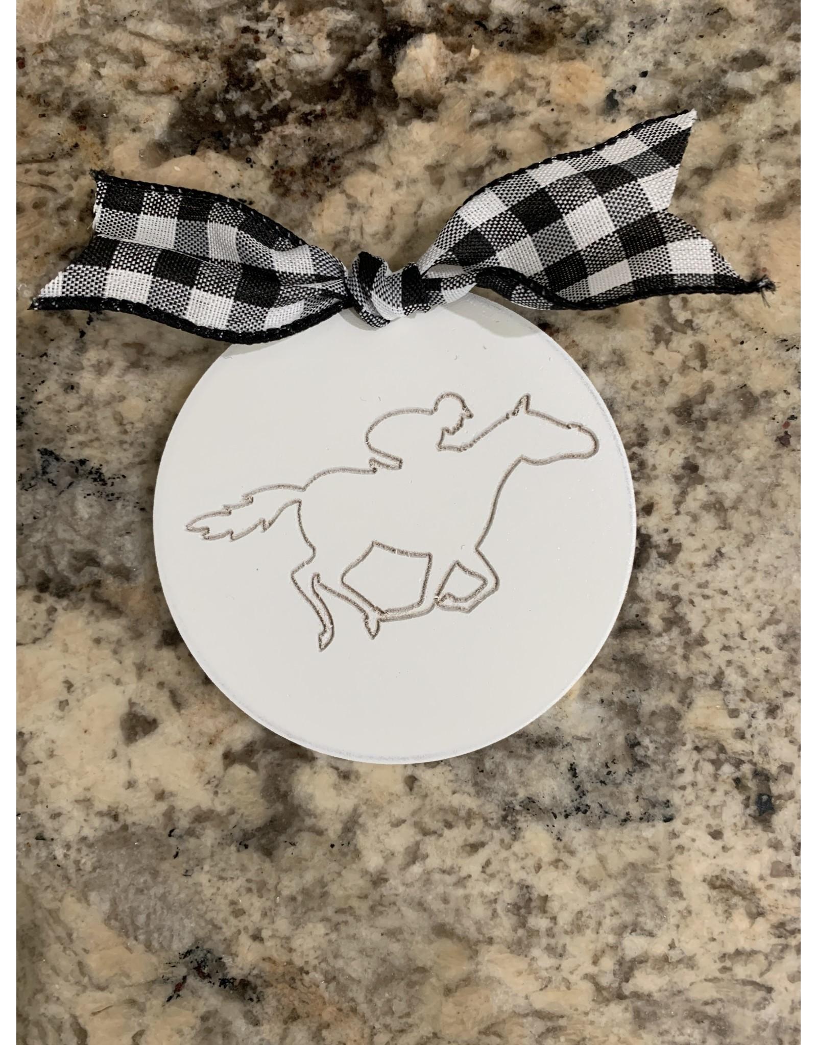 Mini Wooden Attachment Running Horse w/velcro (black bow)