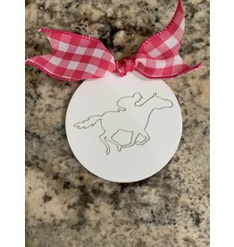 Mini Wooden Attachment Running Horse w/velcro (pink bow)
