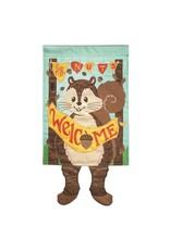 Dangle Leg Welcome Squirrel Garden Flag