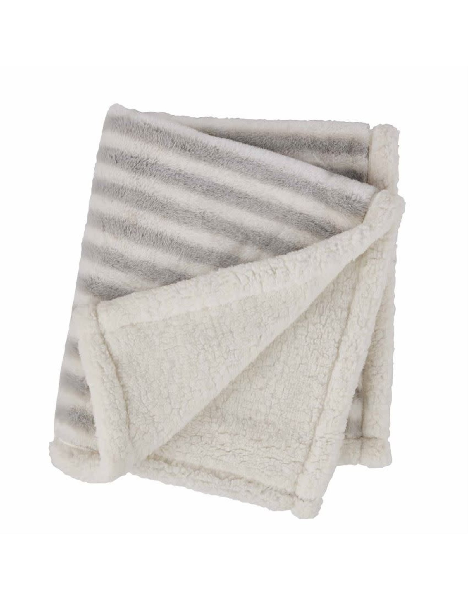 Grey Stripped Faux Fur Blanket