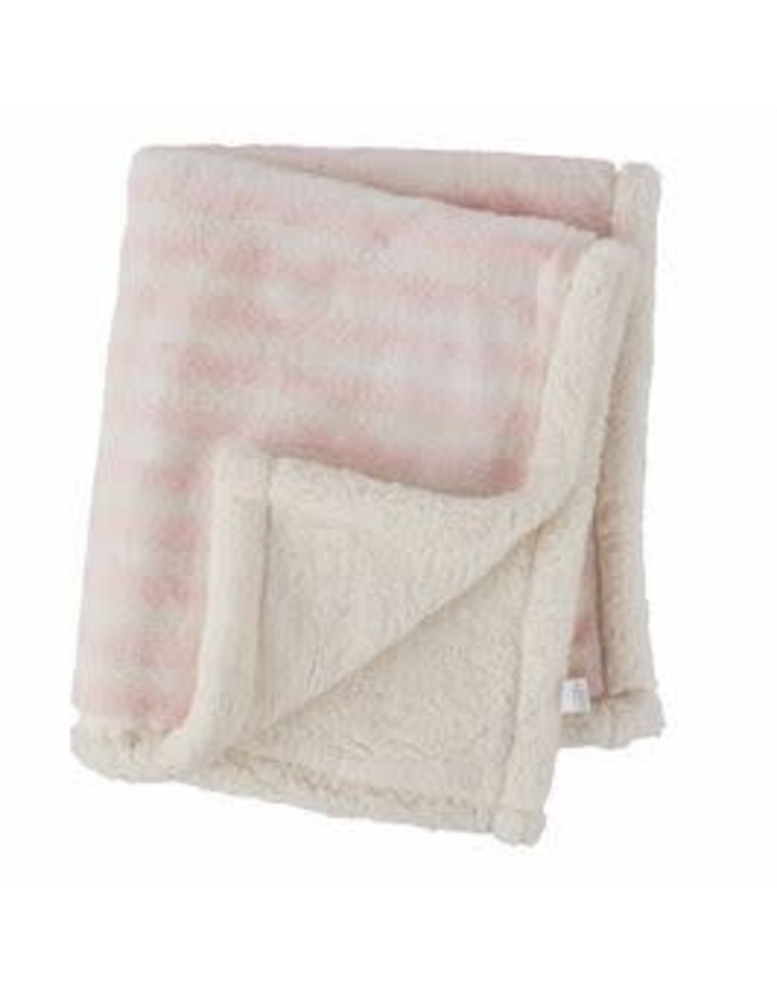 Pink Striped Faux Fur Blanket