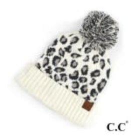 CC Leopard White Knit Hat
