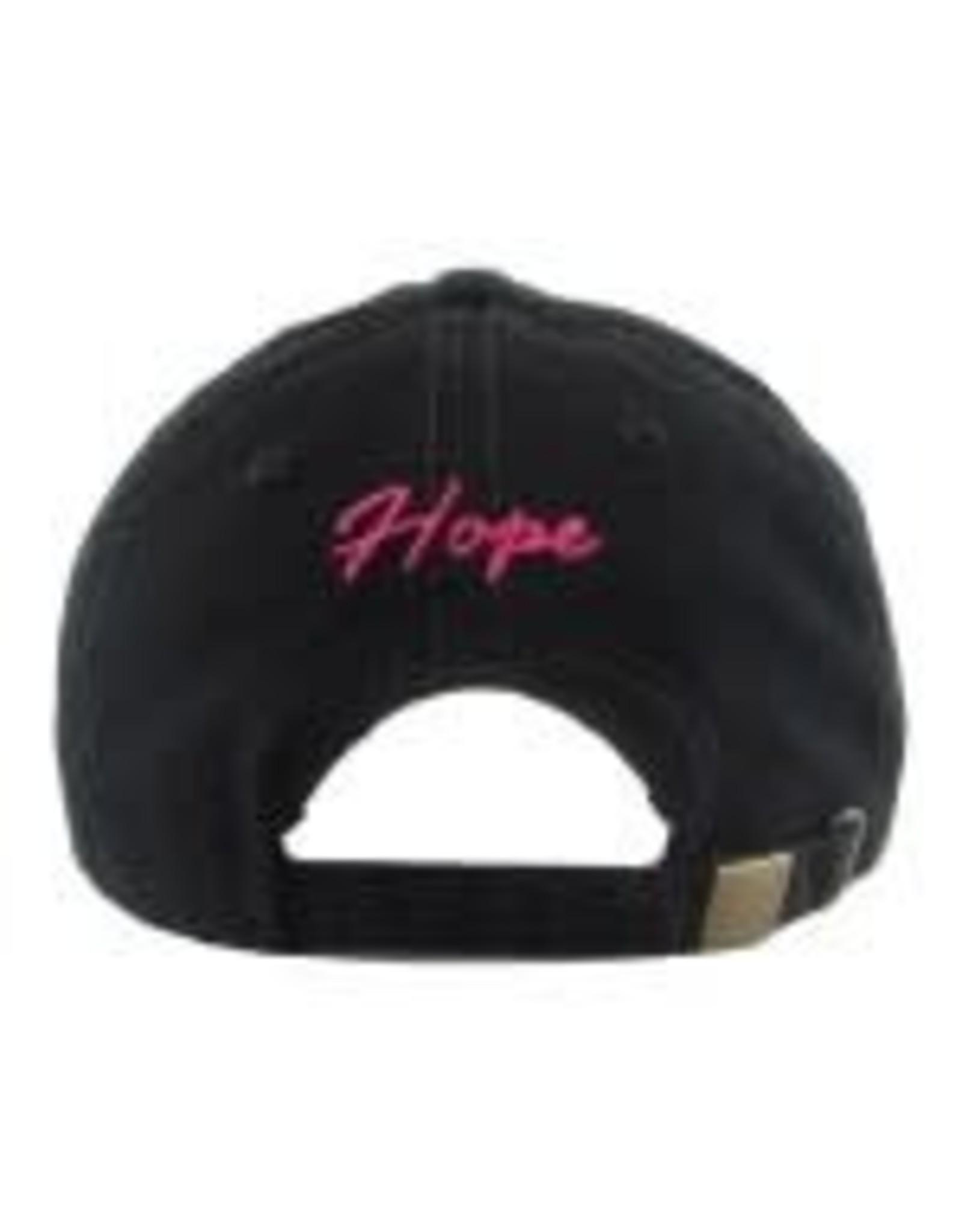 Black & Pink Distressed  Breast Cancer Awareness Hat