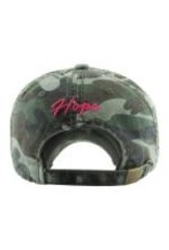 Camo & Pink Distressed  Breast Cancer Awareness Hat