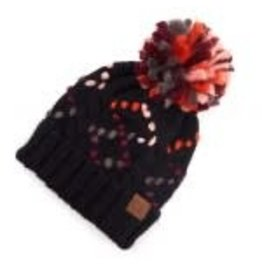 CC Black Multi Chunky Yarn Knit Hat