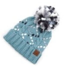 CC Blue Chunky Yarn Knit Hat