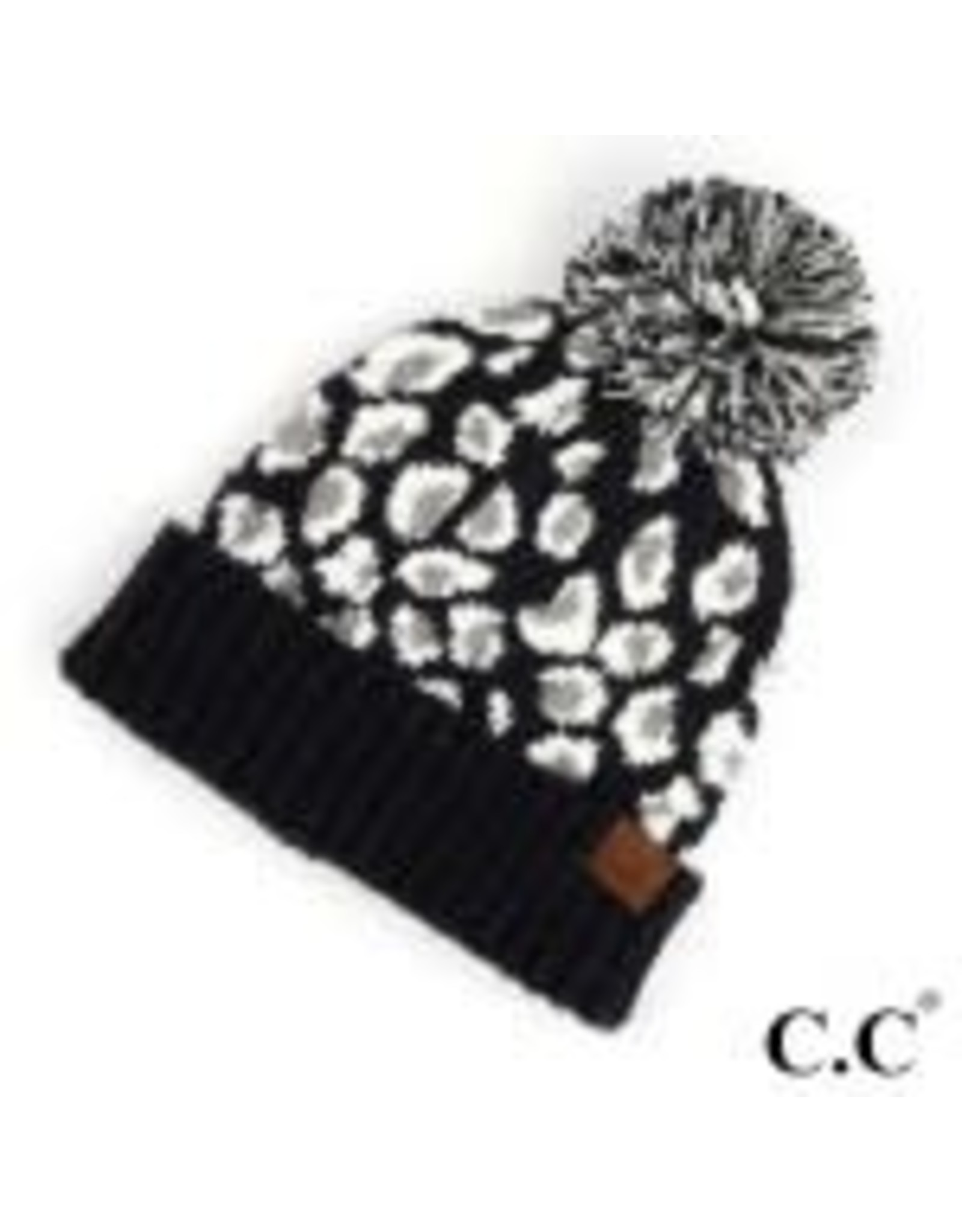 CC Leopard Black Knit Hat