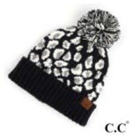CC Leopard Black Knit Hat
