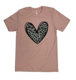 Medium Leopard Print Heart Blush TShirt