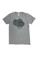Small Plaid Leopard Print Heart TShirt
