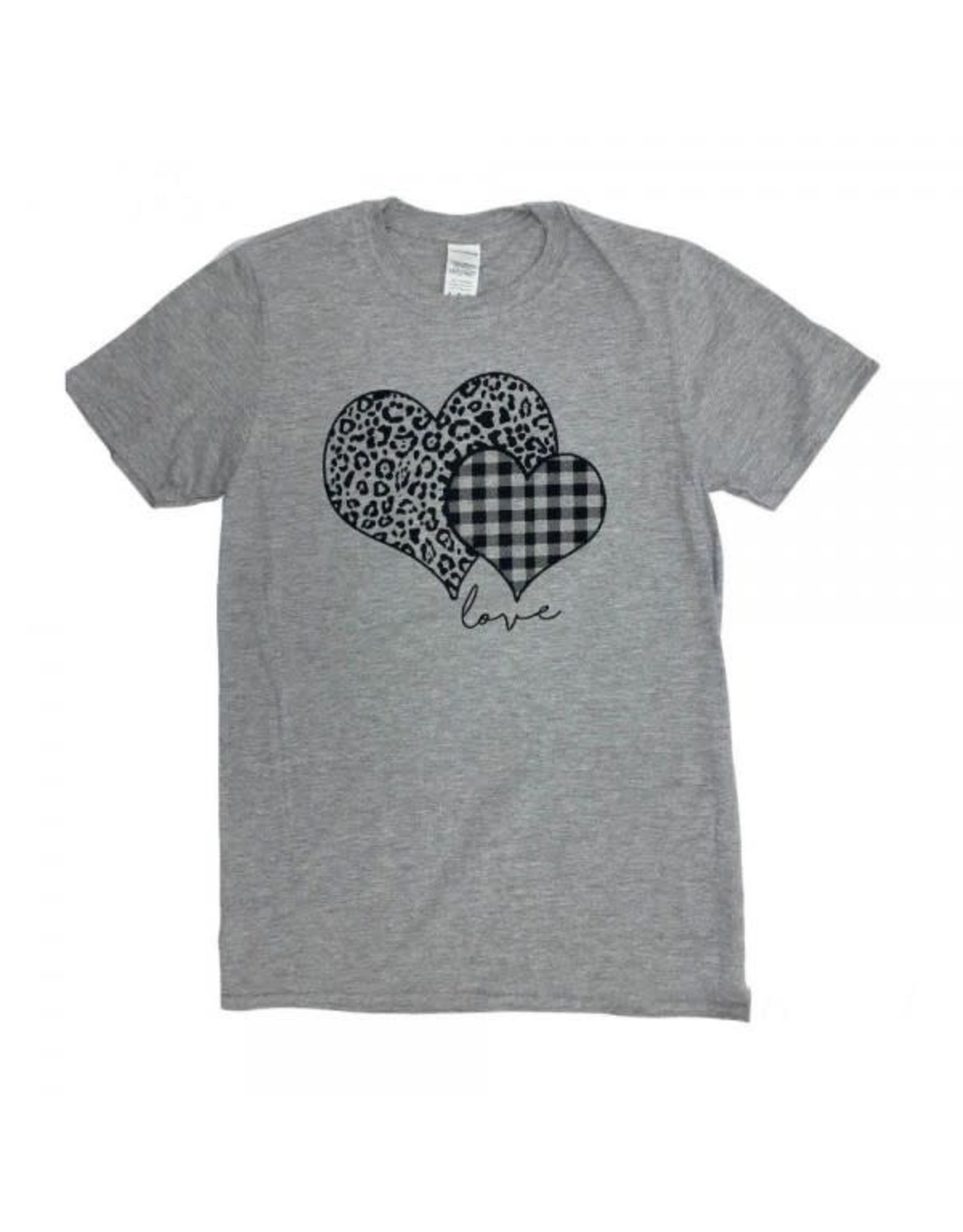 Medium Plaid Leopard Print Heart TShirt