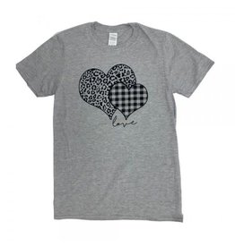 Large Plaid Leopard Print Heart TShirt