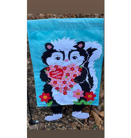 Happy Valentines Day Dangle Leg Skunk Flag
