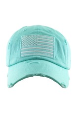 American Flag Turq. Distressed Hat