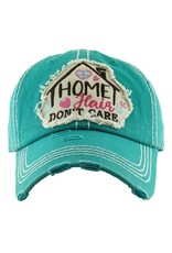 """Home Cair Dont Care"" Dk. Turq. Distressed Hat"
