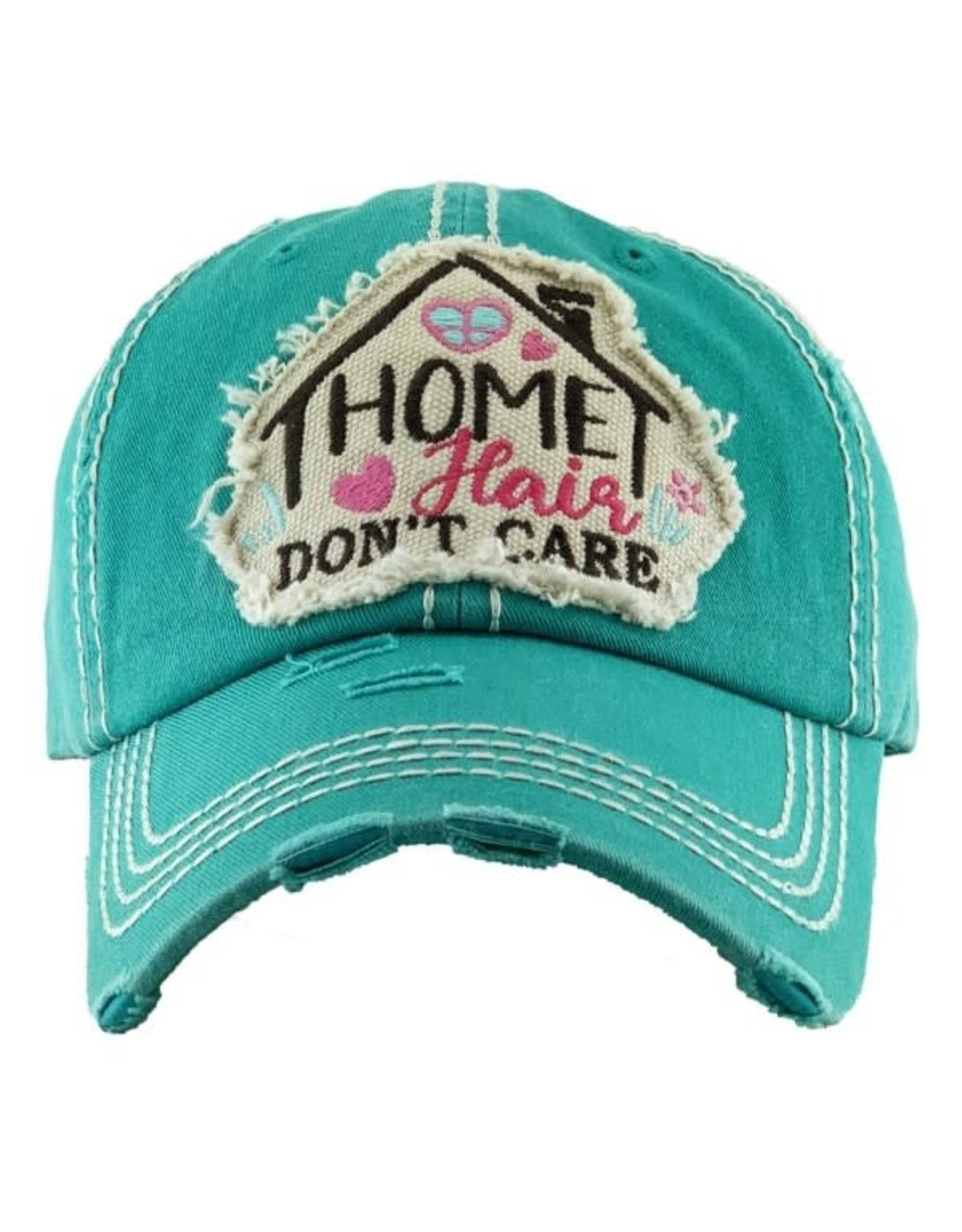 """""""Home Cair Dont Care"""" Dk. Turq. Distressed Hat"""