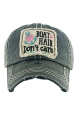 """""""Boat Hair Don't Care"""" Distressed Hat/Gray"""