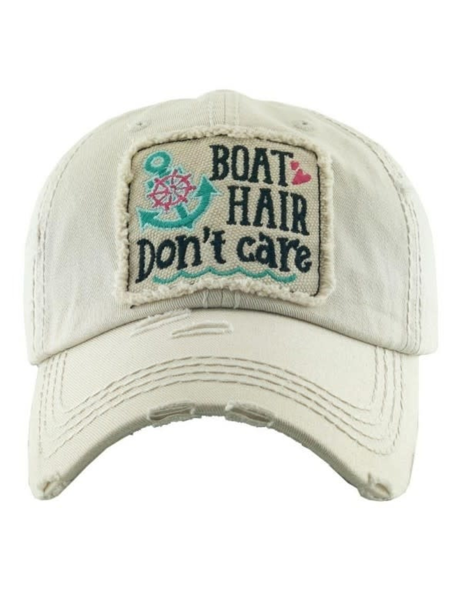 Boat Hair Don't Care Distressed Hat/White