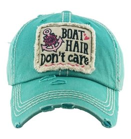 Boat Hair Don't Care Distressed Hat/Dk. Turq.