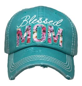"""Blessed Mom"" Floral Hat/Dk. Turq."