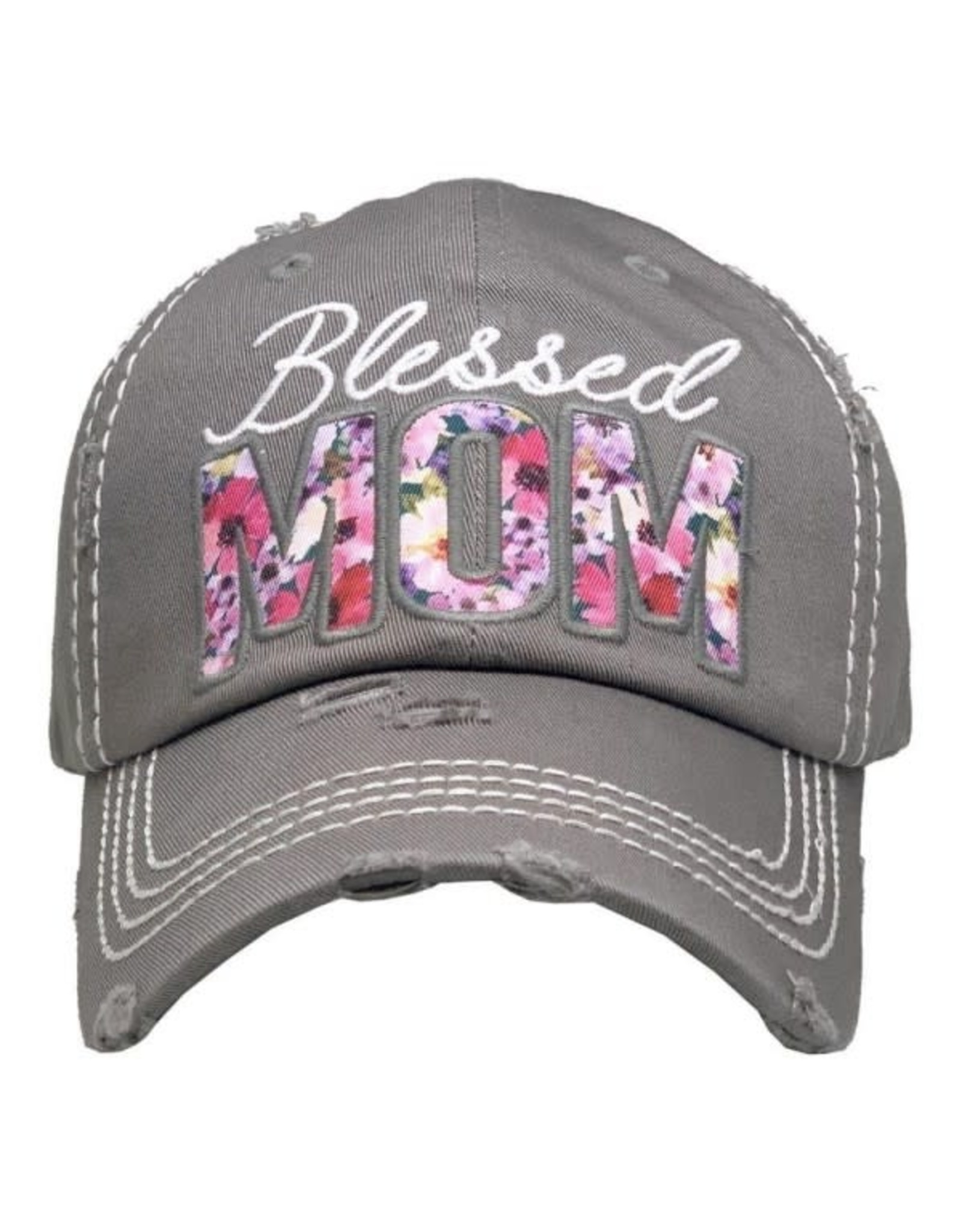 Blessed Mom Floral Hat/Lt. Gray