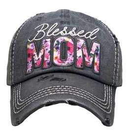 Blessed Mom Floral Hat/Dark Gray