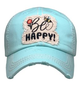 Be Happy Distressed Hat/Lt. Turq.