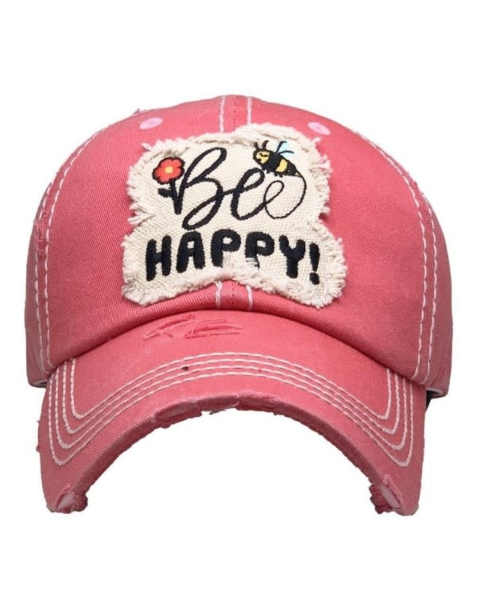 Be Happy Distressed Hat/Pink