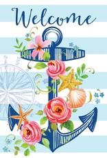 Floral Anchor Garden Flag