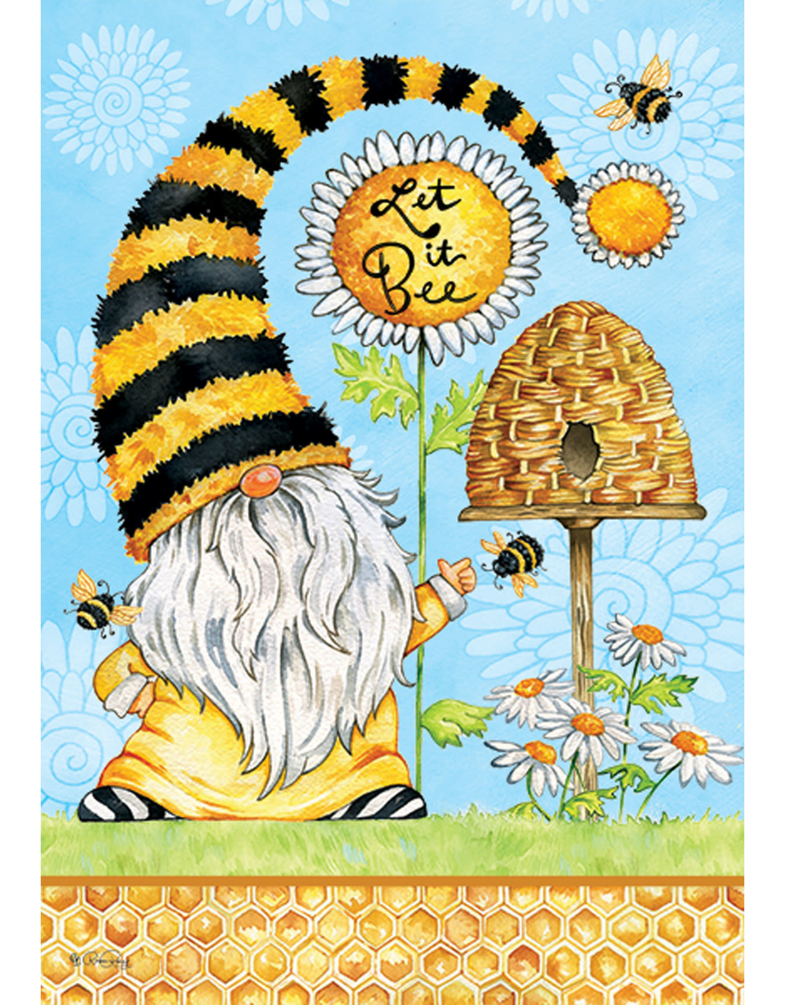 Gnomes and Bees Garden Flag