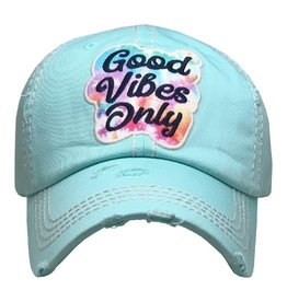 Good Vibes Only Distressed Hat/Lt. Turq