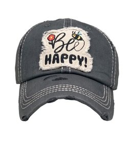 Be Happy distressed hat/Black