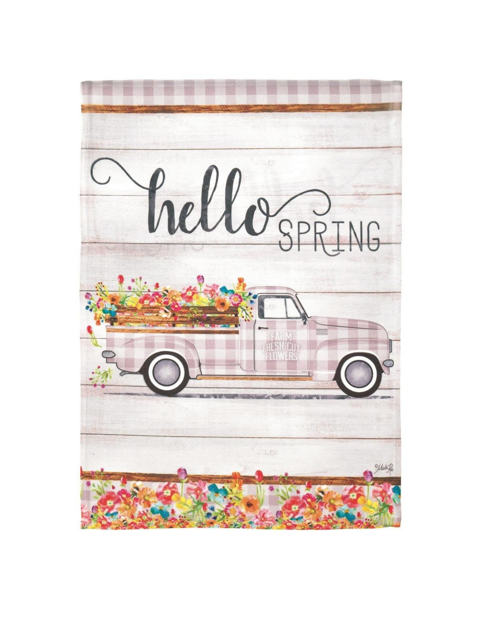 Hello Spring Truck Garden Flag