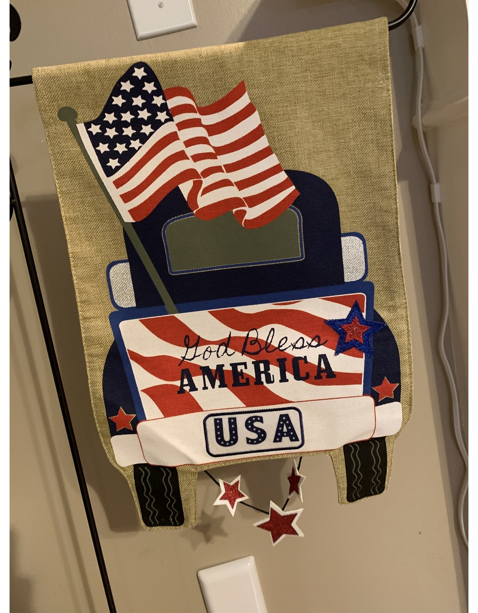 Patriotic Pick-up Burlap Garden Flag