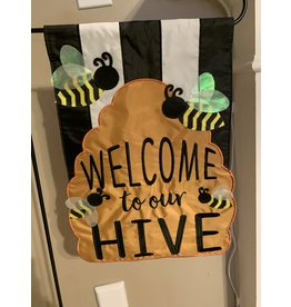 Welcome to Our Hive Garden Flag