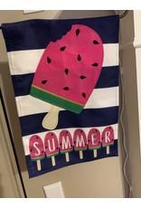 Summer Melonsicle Burlap Garden Flag
