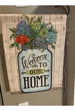Welcome Mason Jar Garden Flag