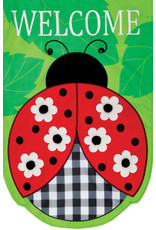 Applique Ladybug Garden Flag