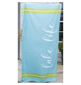 Lake Life Beach Towel-Blue/Lime
