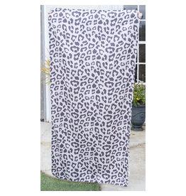 Leopard Beach Towel-Shell/Black