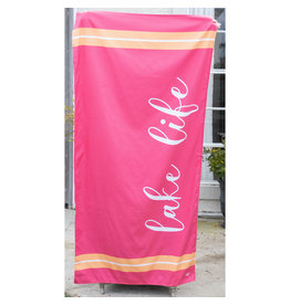 Lake Life  Beach Towel-Hot Pink/Sherbert