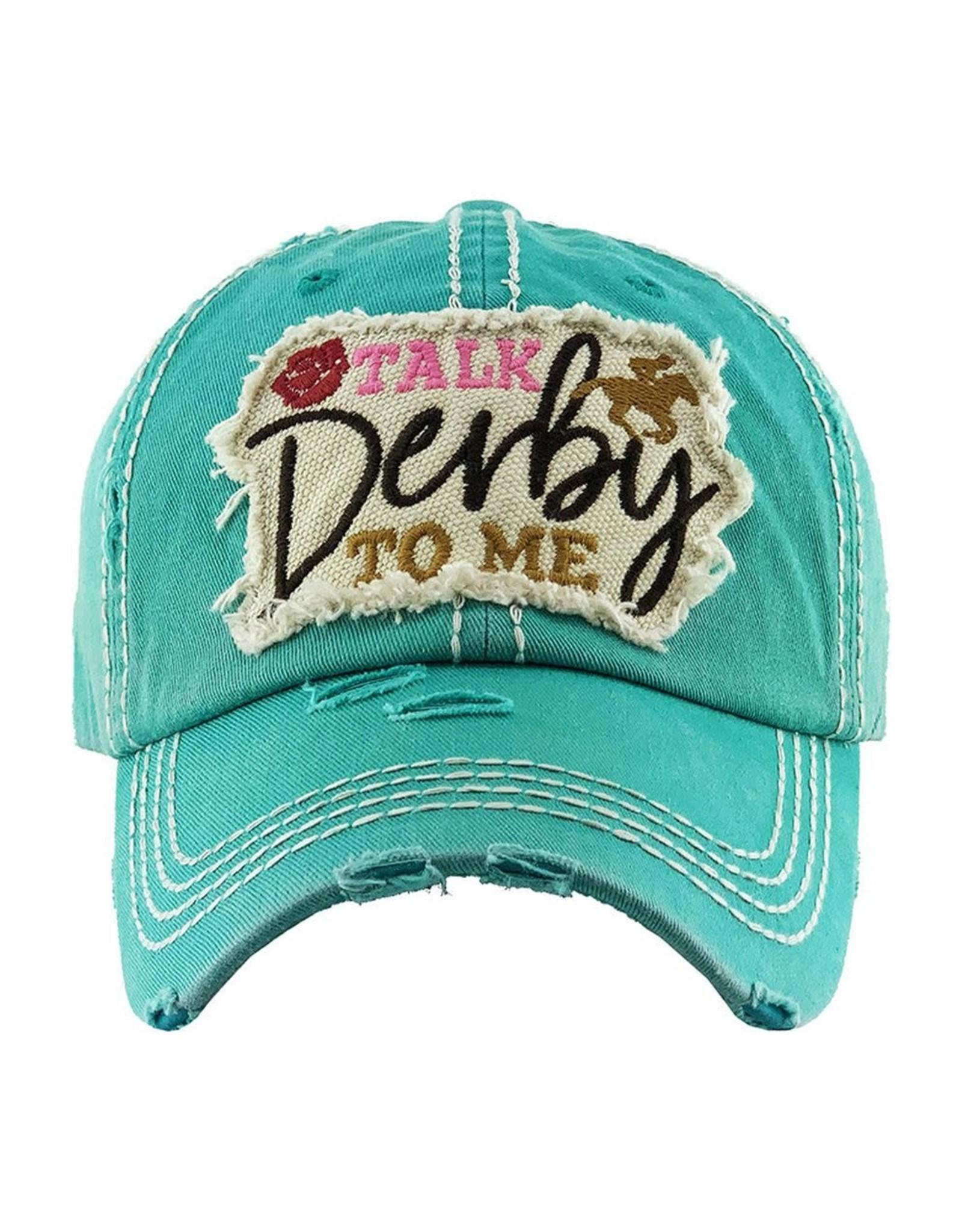 Talk Derby to me turq hat