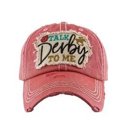 Talk Derby to me pink hat