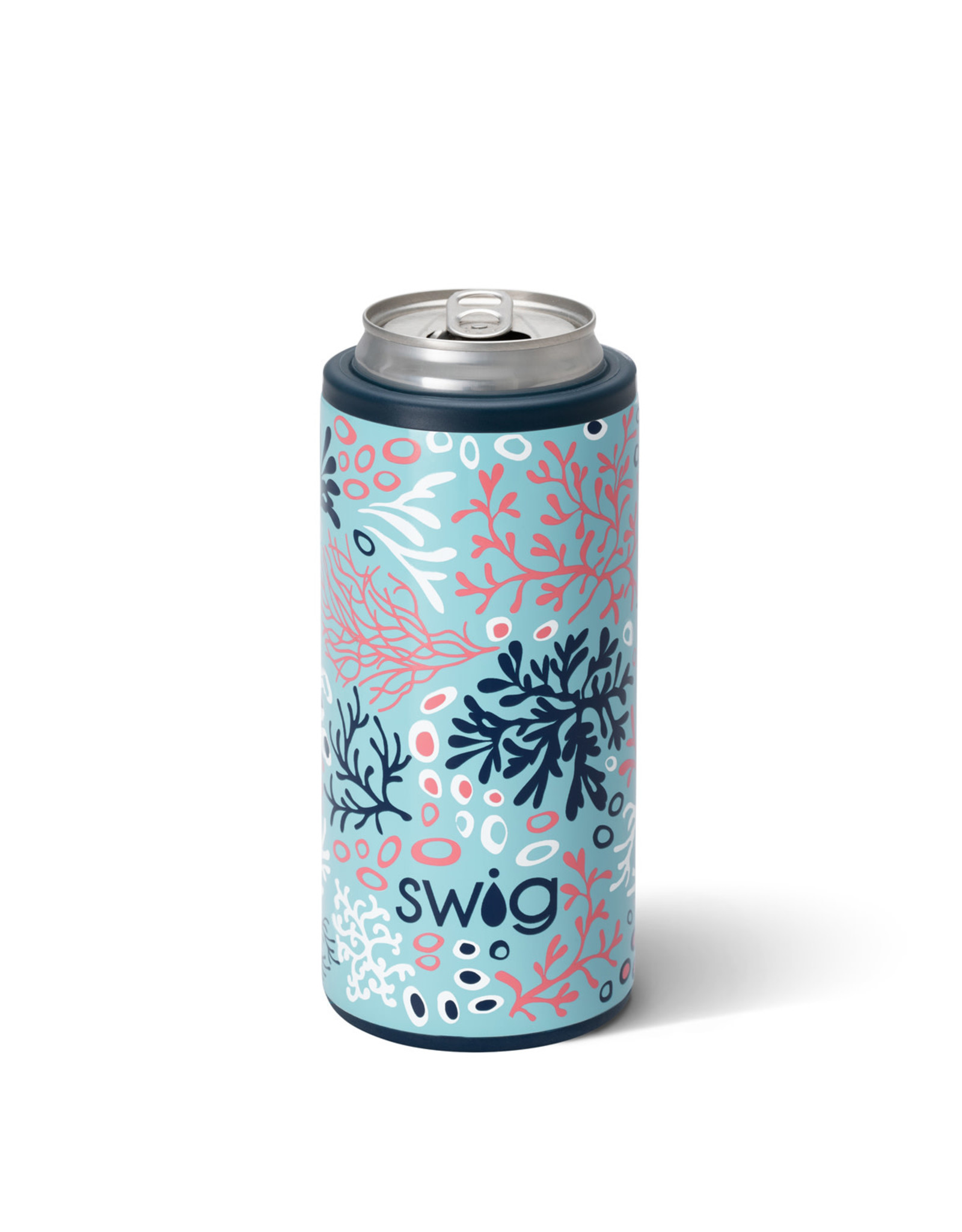 Coral Me Crazy skinny can coozie